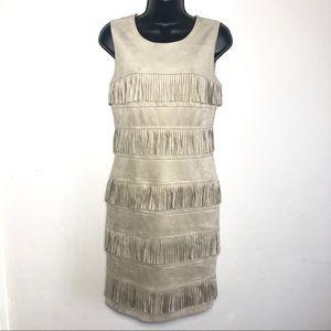 Calvin Klein Sz 6 Tan Suede type fringe dress EUC